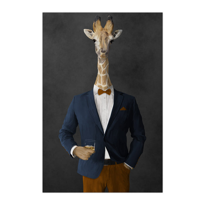 Giraffe drinking whiskey wearing navy and orange suit large wall art print