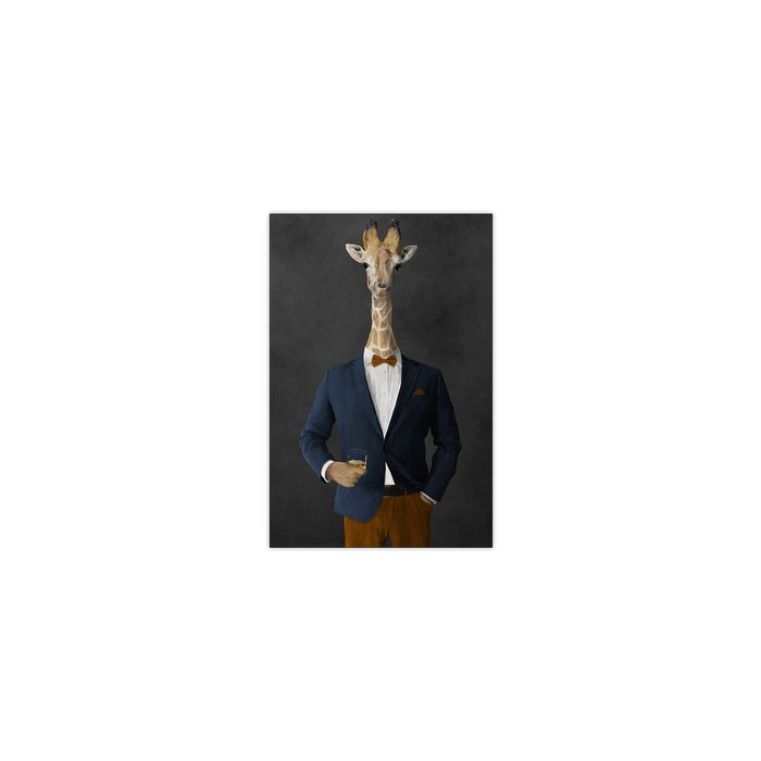 Giraffe drinking whiskey wearing navy and orange suit small wall art print