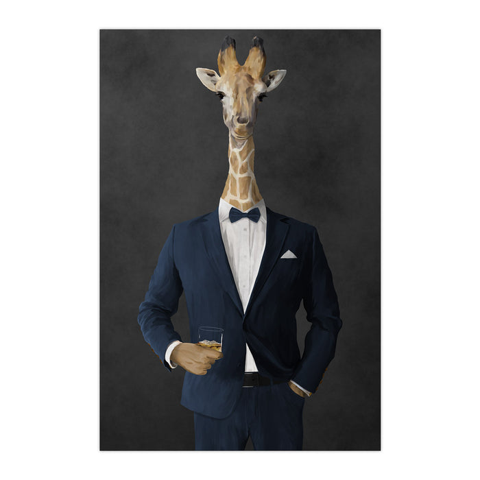 Giraffe drinking whiskey wearing navy suit large wall art print