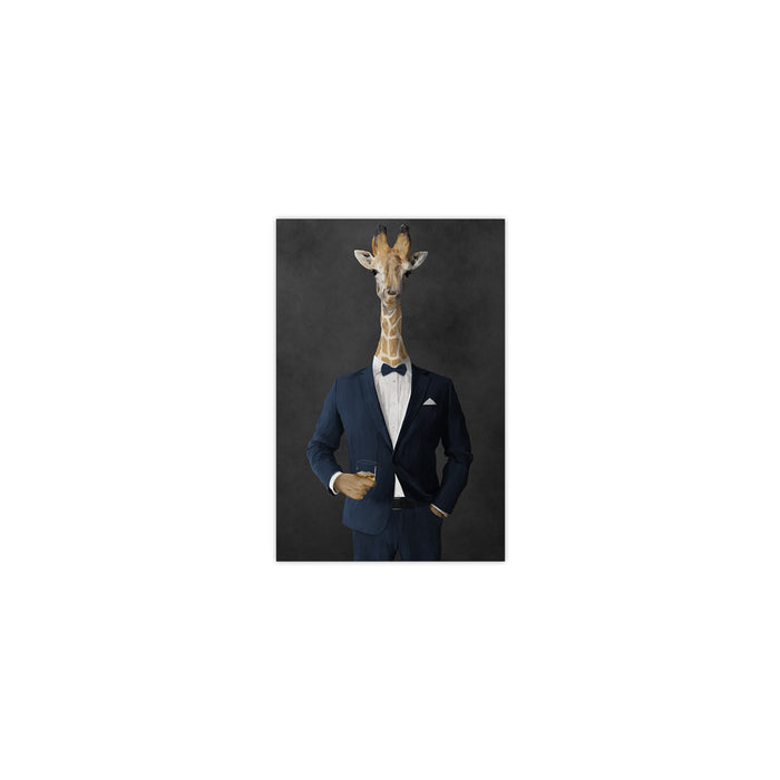 Giraffe drinking whiskey wearing navy suit small wall art print