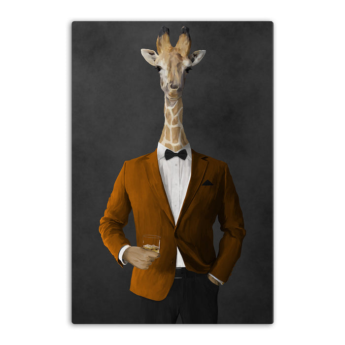 Giraffe drinking whiskey wearing orange and black suit canvas wall art