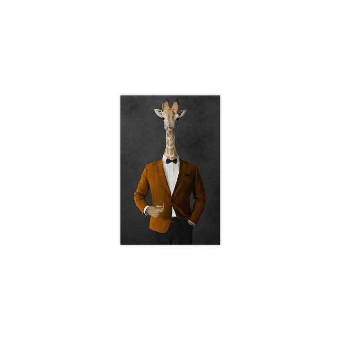 Giraffe drinking whiskey wearing orange and black suit small wall art print
