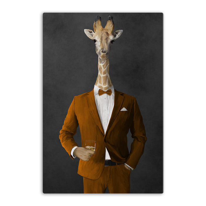 Giraffe drinking whiskey wearing orange suit canvas wall art