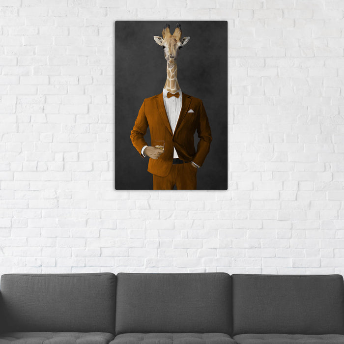 Giraffe Drinking Whiskey Wall Art - Orange Suit