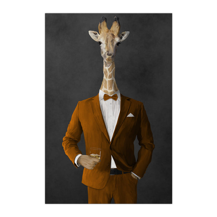 Giraffe drinking whiskey wearing orange suit large wall art print
