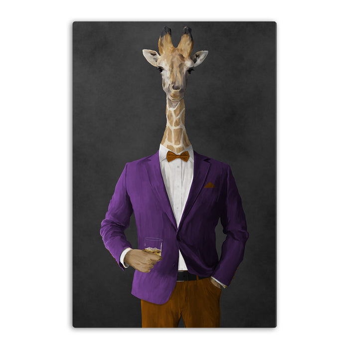Giraffe drinking whiskey wearing purple and orange suit canvas wall art