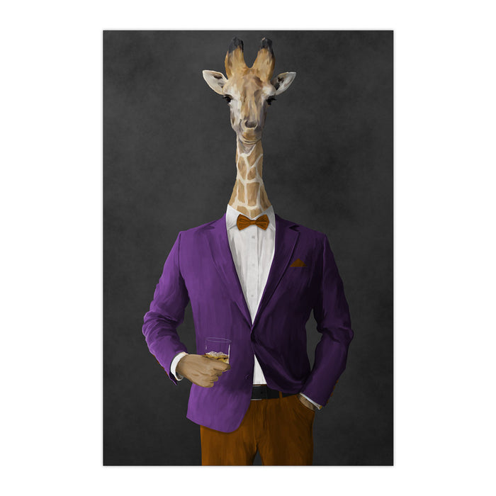 Giraffe drinking whiskey wearing purple and orange suit large wall art print