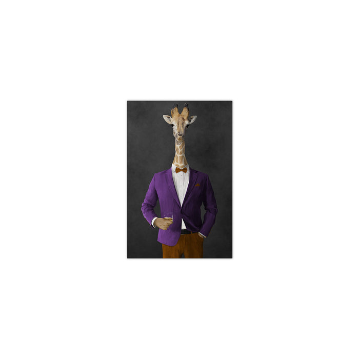 Giraffe drinking whiskey wearing purple and orange suit small wall art print