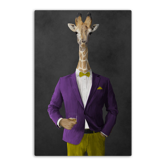 Giraffe drinking whiskey wearing purple and yellow suit canvas wall art