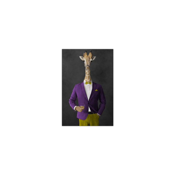 Giraffe drinking whiskey wearing purple and yellow suit small wall art print