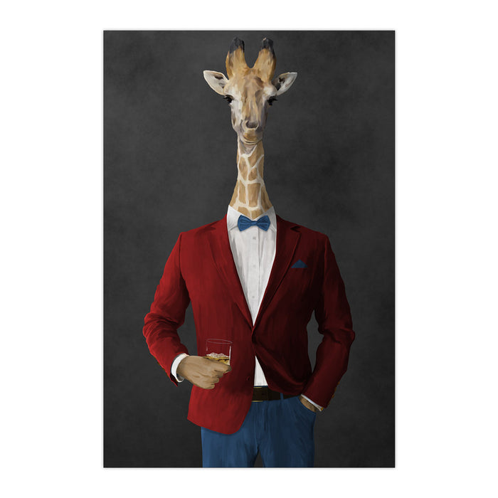 Giraffe drinking whiskey wearing red and blue suit large wall art print