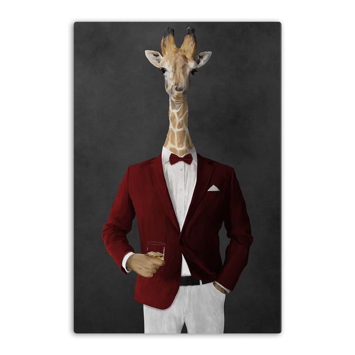 Giraffe drinking whiskey wearing red and white suit canvas wall art