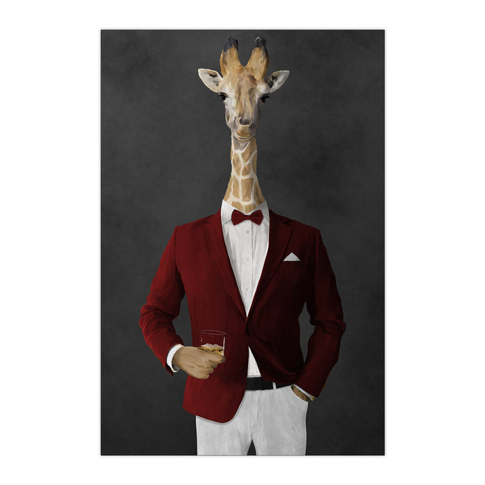 Giraffe drinking whiskey wearing red and white suit large wall art print