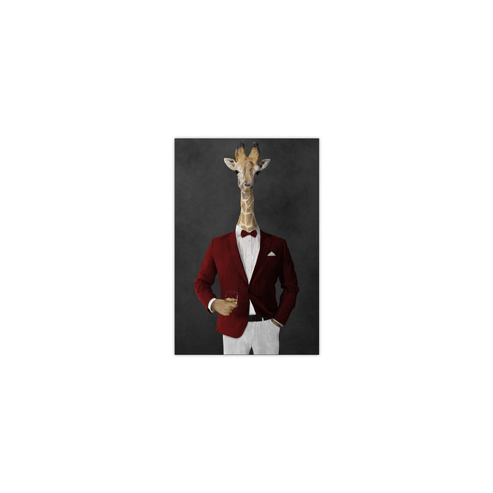 Giraffe drinking whiskey wearing red and white suit small wall art print