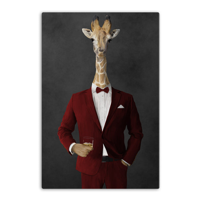 Giraffe drinking whiskey wearing red suit canvas wall art