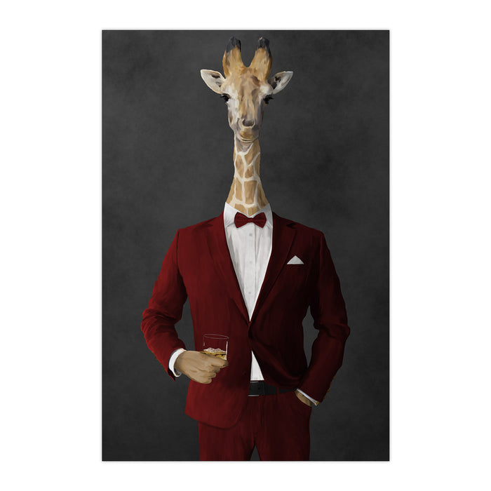 Giraffe drinking whiskey wearing red suit large wall art print