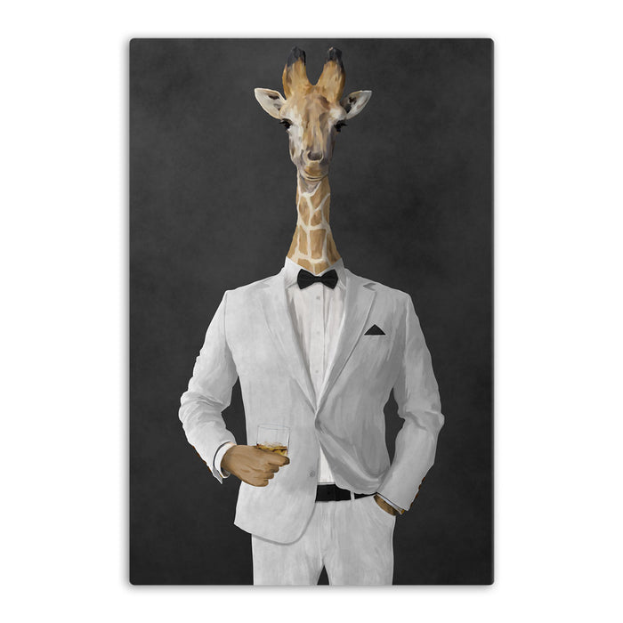 Giraffe drinking whiskey wearing white suit canvas wall art