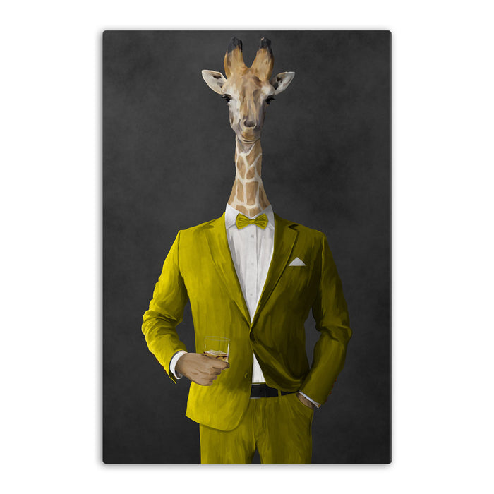 Giraffe drinking whiskey wearing yellow suit canvas wall art
