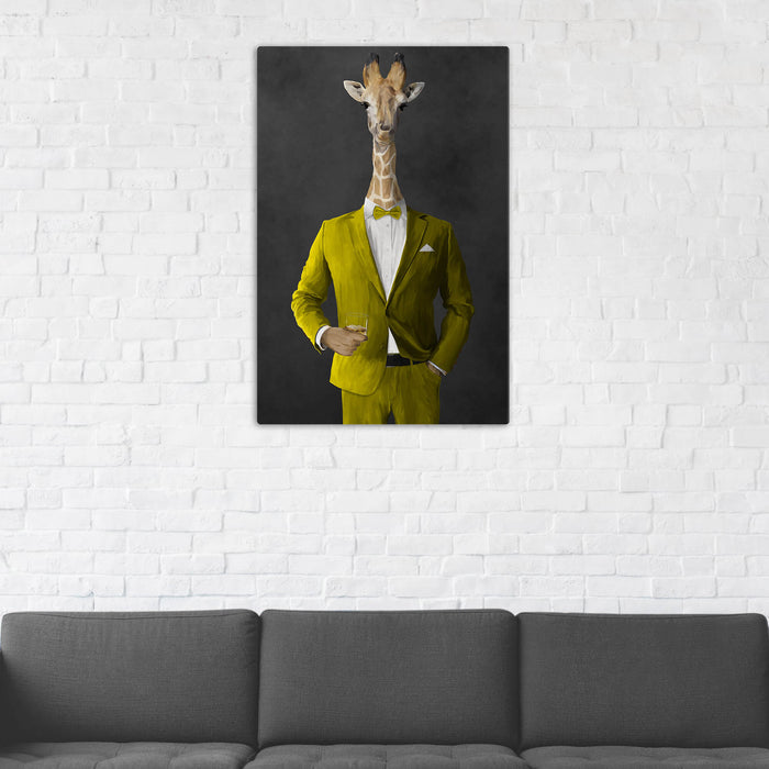 Giraffe Drinking Whiskey Wall Art - Yellow Suit