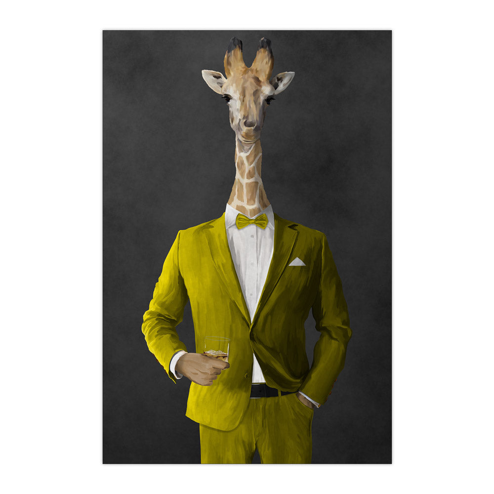Giraffe drinking whiskey wearing yellow suit large wall art print