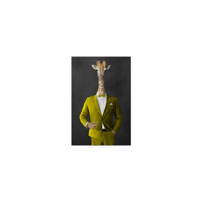 Giraffe drinking whiskey wearing yellow suit small wall art print