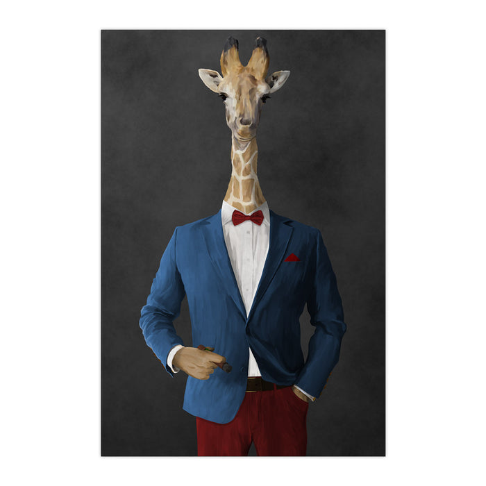 Giraffe smoking cigar wearing blue and red suit large wall art print