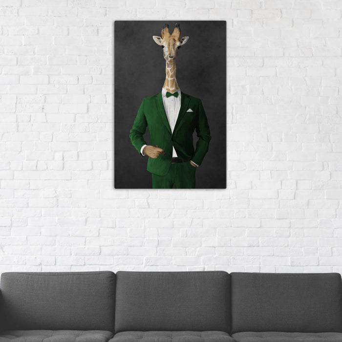 Giraffe Smoking Cigar Wall Art - Green Suit