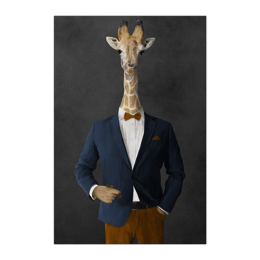 Giraffe smoking cigar wearing navy and orange suit large wall art print