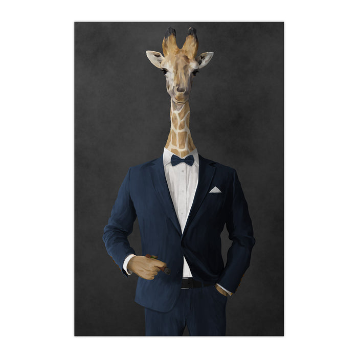 Giraffe smoking cigar wearing navy suit large wall art print