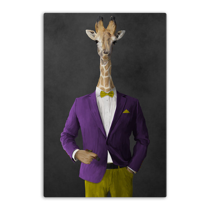 Giraffe smoking cigar wearing purple and yellow suit canvas wall art