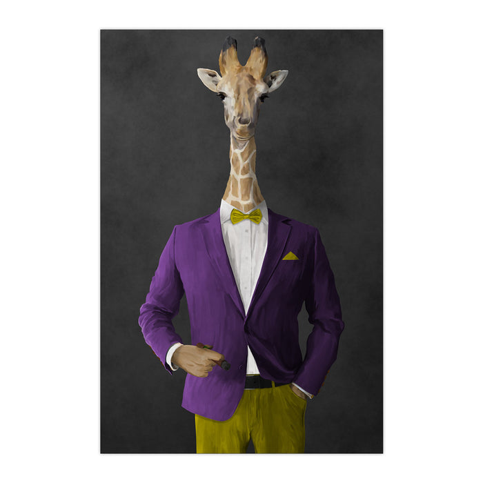 Giraffe smoking cigar wearing purple and yellow suit large wall art print