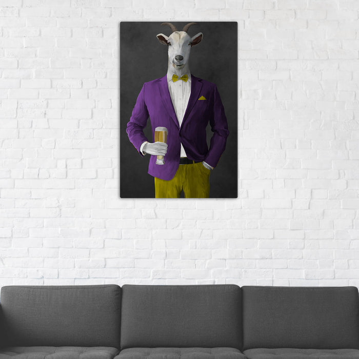 Goat Drinking Beer Art - Purple and Yellow Suit