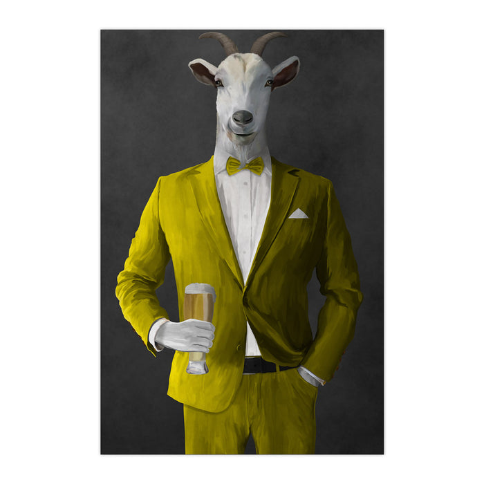 Goat Drinking Beer Art - Yellow Suit