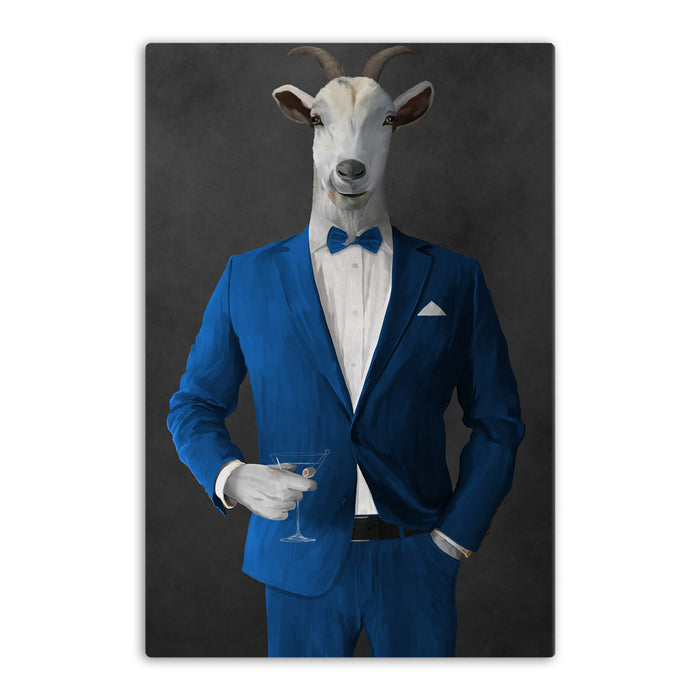 Goat Drinking Martini Art - Blue Suit