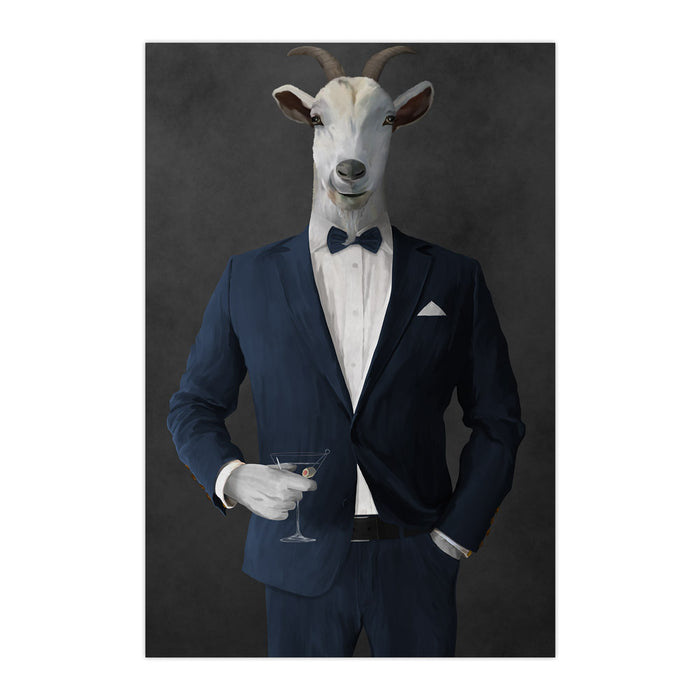Goat Drinking Martini Art - Navy Suit