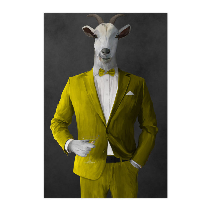 Goat Drinking Martini Art - Yellow Suit