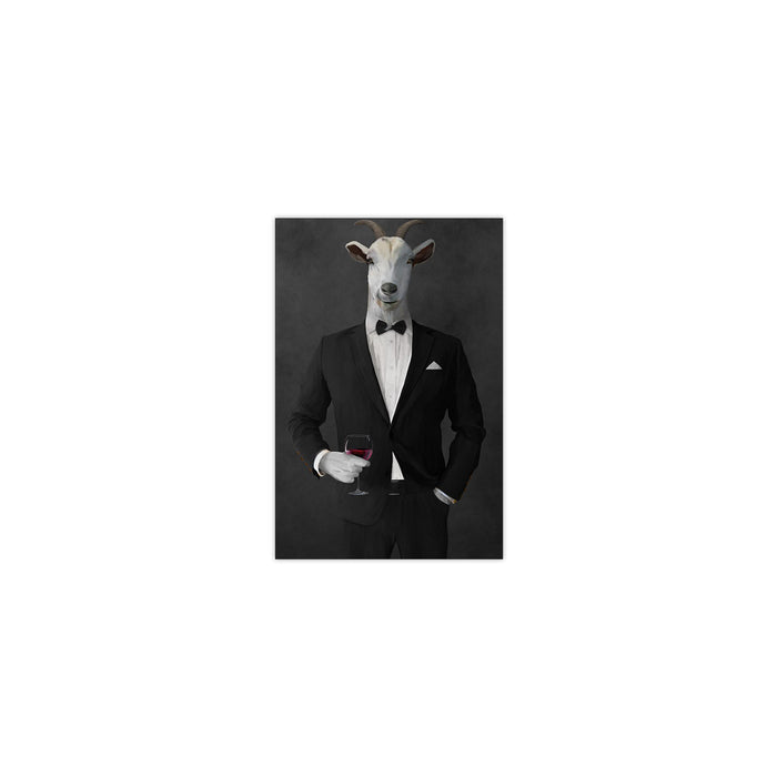 Goat Drinking Red Wine Art - Black Suit