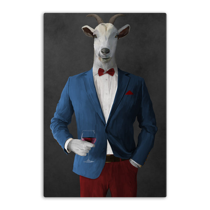 Goat Drinking Red Wine Art - Blue and Red Suit
