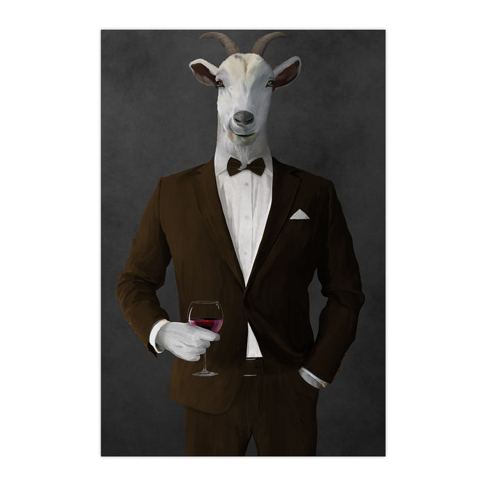 Goat Drinking Red Wine Art - Brown Suit