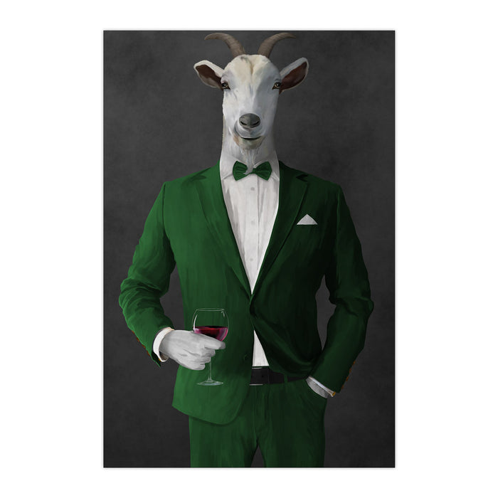 Goat Drinking Red Wine Art - Green Suit