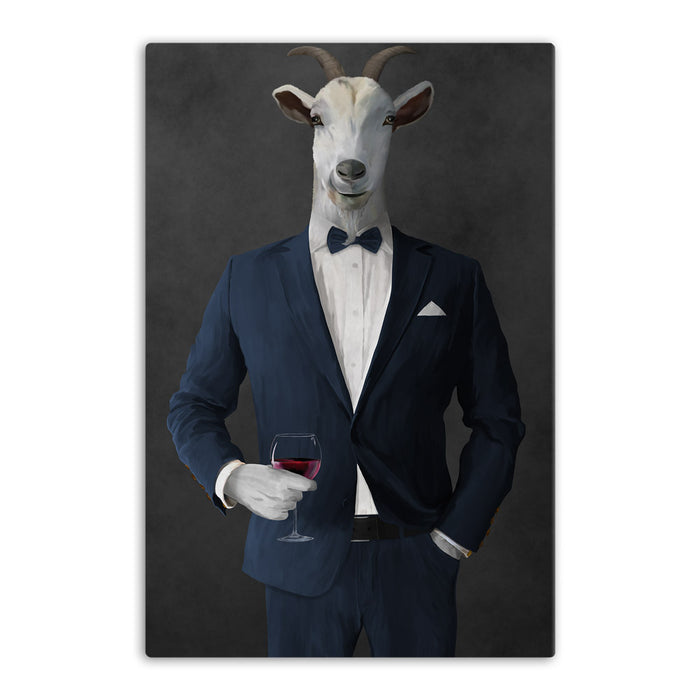 Goat Drinking Red Wine Art - Navy Suit