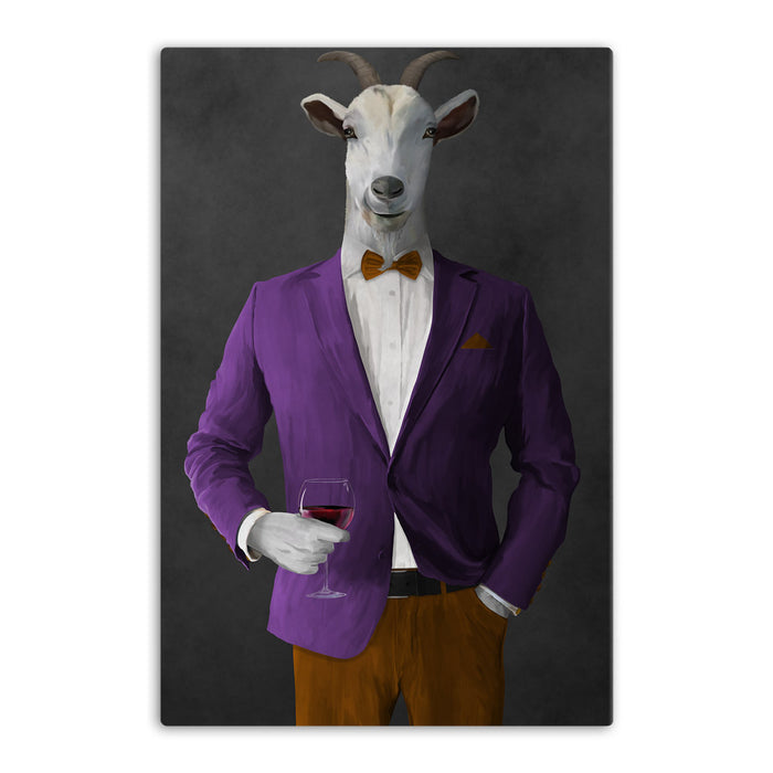 Goat Drinking Red Wine Art - Purple and Orange Suit