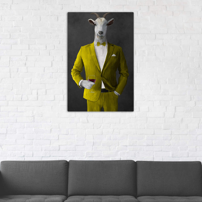 Goat Drinking Red Wine Art - Yellow Suit