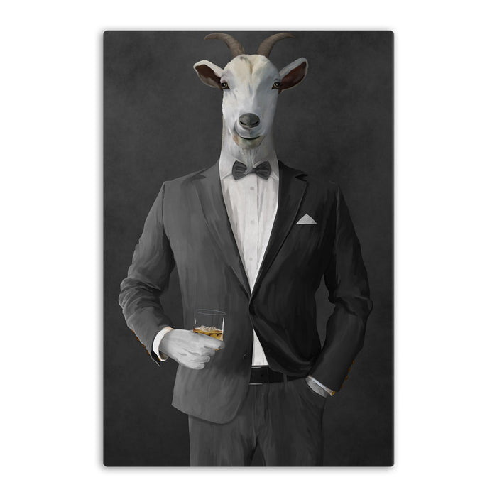 Goat Drinking Whiskey Art - Gray Suit