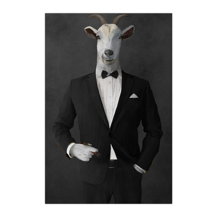 Goat Smoking Cigar Art - Black Suit