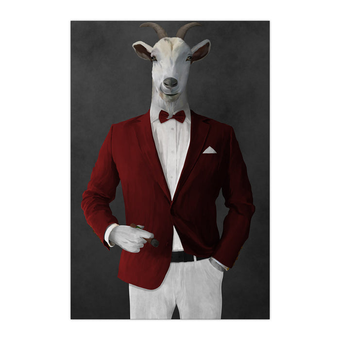 Goat Smoking Cigar Art - Red and White Suit