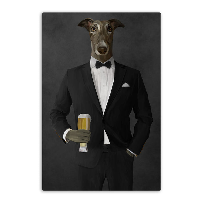 Greyhound Drinking Beer Wall Art - Black Suit
