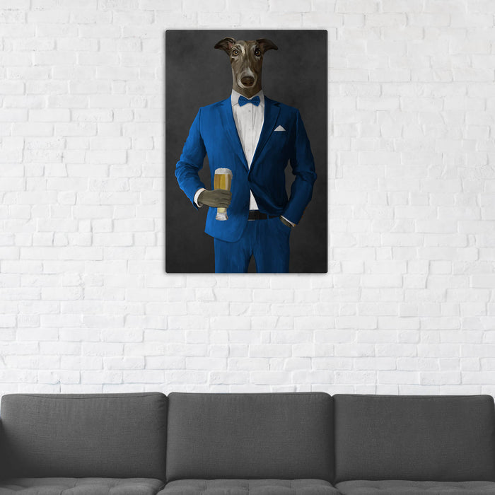 Greyhound Drinking Beer Wall Art - Blue Suit