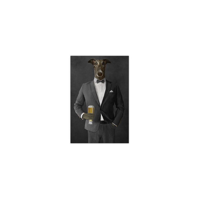 Greyhound Drinking Beer Wall Art - Gray Suit