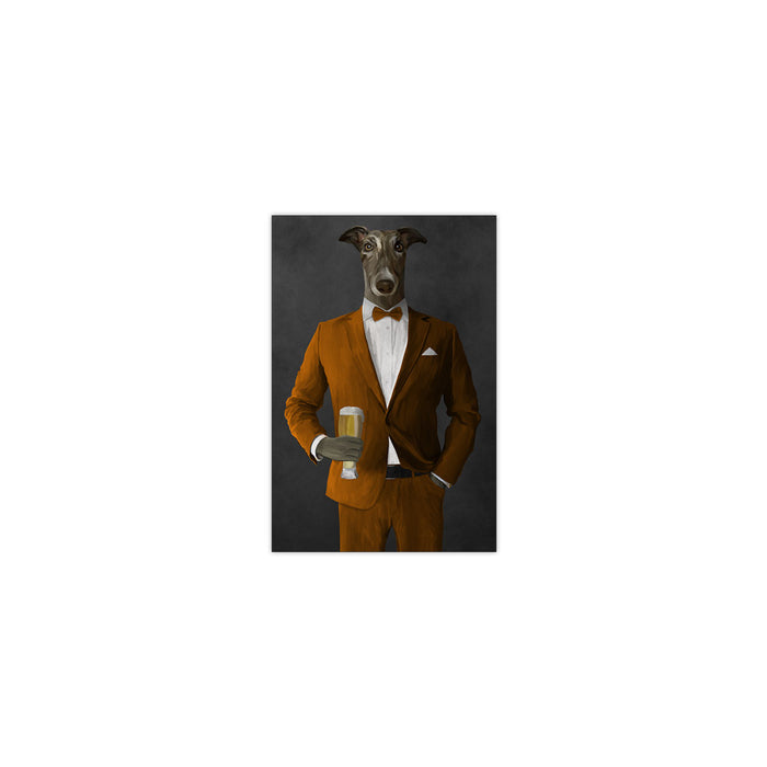 Greyhound Drinking Beer Wall Art - Orange Suit